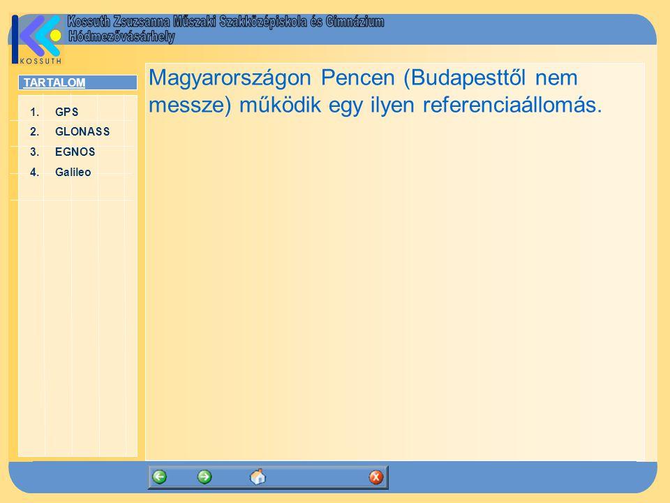 TARTALOM 1.GPSGPS 2.GLONASSGLONASS 3.EGNOSEGNOS 4.GalileoGalileo Magyarországon Pencen (Budapesttől nem messze) működik egy ilyen referenciaállomás.
