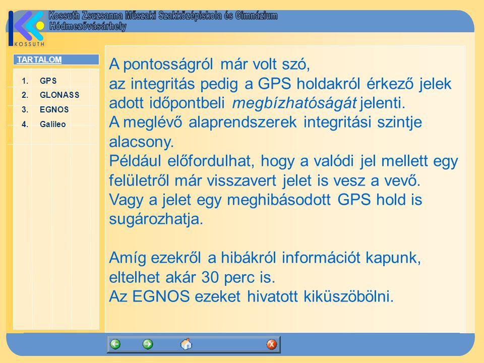 TARTALOM 1.GPSGPS 2.GLONASSGLONASS 3.EGNOSEGNOS 4.GalileoGalileo Az imént felsorolt alkalmazások legnagyobb része Magyarországon is meghonosítható.