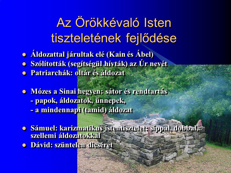 2 Az Örökkévaló Isten tiszteletének fejlődése Áldozattal járultak elé (Kain és Ábel) Áldozattal járultak elé (Kain és Ábel) Szólították (segítségül hívták) az Úr nevét Szólították (segítségül hívták) az Úr nevét Patriarchák: oltár és áldozat Patriarchák: oltár és áldozat Mózes a Sinai hegyen: sátor és rendtartás Mózes a Sinai hegyen: sátor és rendtartás - papok, áldozatok, ünnepek, - a mindennapi (tamid) áldozat Sámuel: karizmatikus istentisztelet: síppal, dobbal, szellemi áldozatokkal Sámuel: karizmatikus istentisztelet: síppal, dobbal, szellemi áldozatokkal Dávid: szüntelen dicséret Dávid: szüntelen dicséret Áldozattal járultak elé (Kain és Ábel) Áldozattal járultak elé (Kain és Ábel) Szólították (segítségül hívták) az Úr nevét Szólították (segítségül hívták) az Úr nevét Patriarchák: oltár és áldozat Patriarchák: oltár és áldozat Mózes a Sinai hegyen: sátor és rendtartás Mózes a Sinai hegyen: sátor és rendtartás - papok, áldozatok, ünnepek, - a mindennapi (tamid) áldozat Sámuel: karizmatikus istentisztelet: síppal, dobbal, szellemi áldozatokkal Sámuel: karizmatikus istentisztelet: síppal, dobbal, szellemi áldozatokkal Dávid: szüntelen dicséret Dávid: szüntelen dicséret