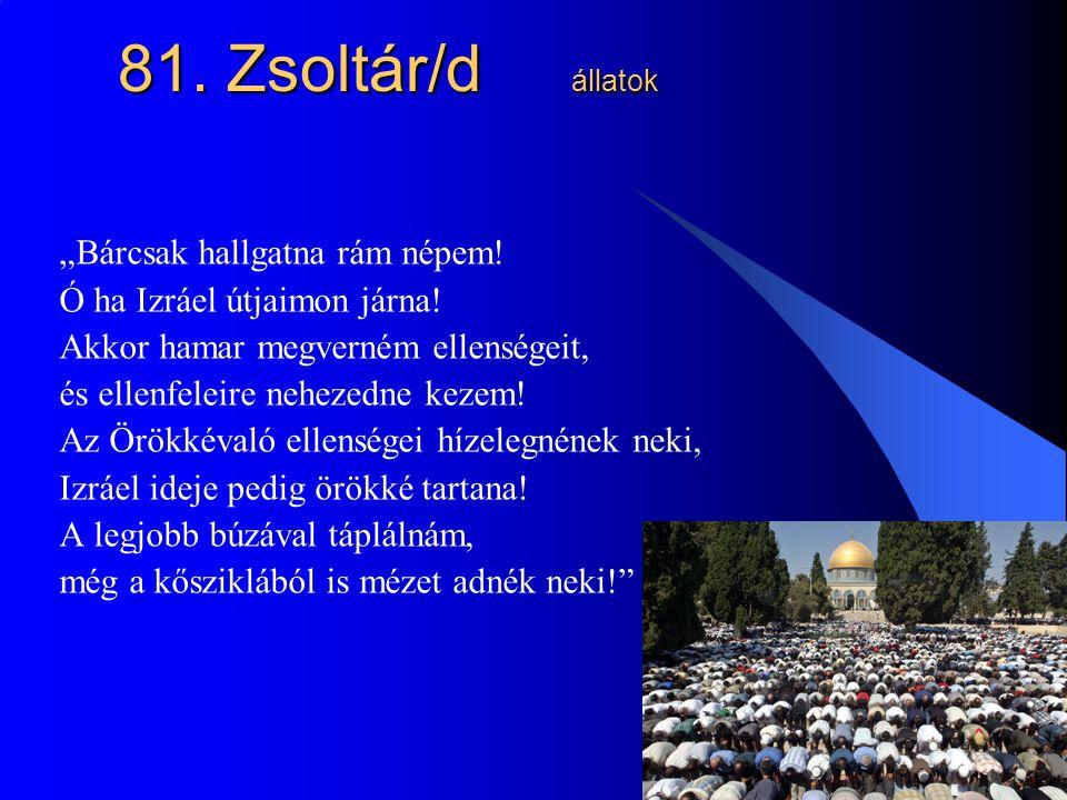 """22 81. Zsoltár/d állatok """"Bárcsak hallgatna rám népem! Ó ha Izráel útjaimon járna! Akkor hamar megverném ellenségeit, és ellenfeleire nehezedne kezem!"""
