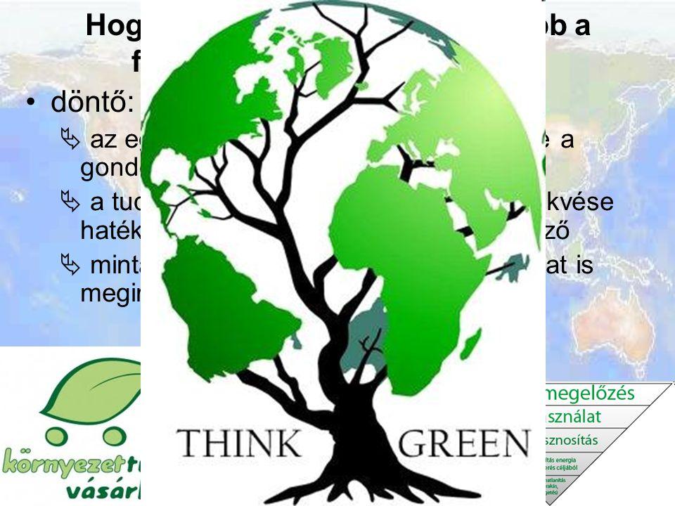 Hogyan juthatunk el leghamarabb a fenntartható társadalomhoz? döntő: az ember értékrendje  az egyének, a civil szervezetek szerepe a gondolkodás nyit