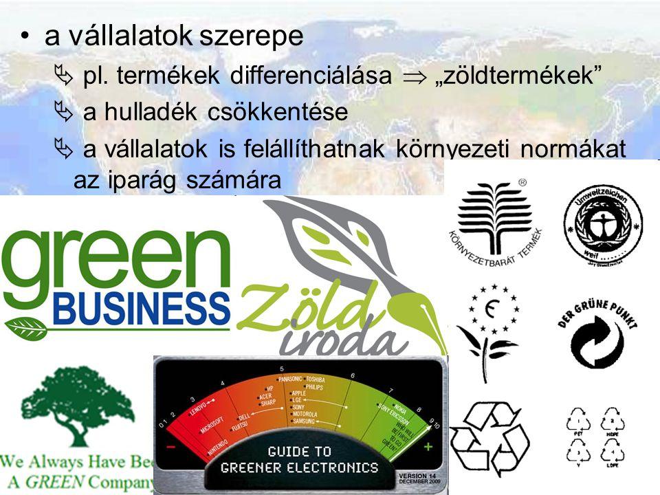 """a vállalatok szerepe  pl. termékek differenciálása  """"zöldtermékek""""  a hulladék csökkentése  a vállalatok is felállíthatnak környezeti normákat az"""