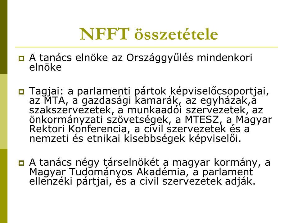 NFFT összetétele  A tanács elnöke az Országgyűlés mindenkori elnöke  Tagjai: a parlamenti pártok képviselőcsoportjai, az MTA, a gazdasági kamarák, a