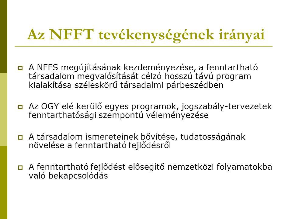 Az NFFT tevékenységének irányai  A NFFS megújításának kezdeményezése, a fenntartható társadalom megvalósítását célzó hosszú távú program kialakítása