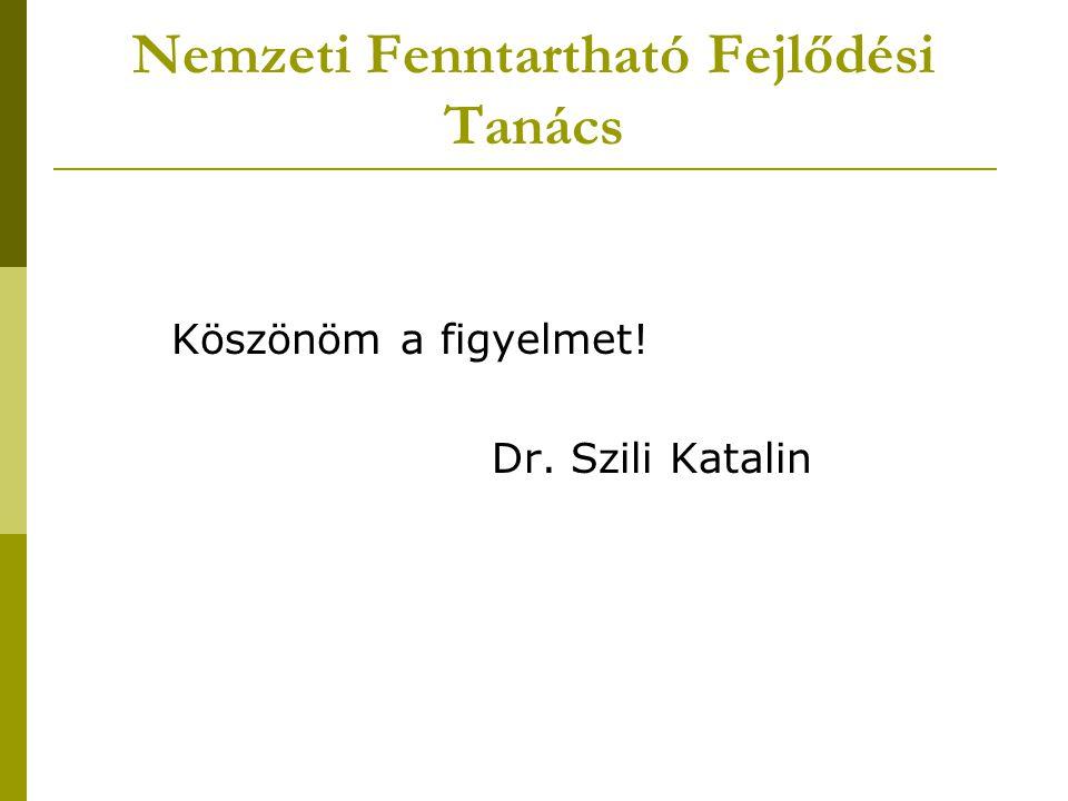 Nemzeti Fenntartható Fejlődési Tanács Köszönöm a figyelmet! Dr. Szili Katalin