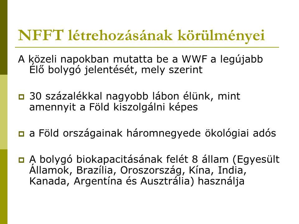 NFFT létrehozásának körülményei A közeli napokban mutatta be a WWF a legújabb Élő bolygó jelentését, mely szerint  30 százalékkal nagyobb lábon élünk