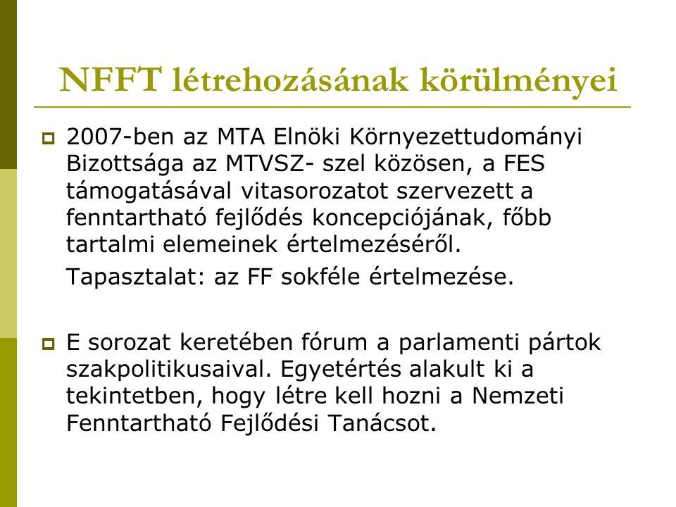 NFFT létrehozásának körülményei  2007-ben az MTA Elnöki Környezettudományi Bizottsága az MTVSZ- szel közösen, a FES támogatásával vitasorozatot szervezett a fenntartható fejlődés koncepciójának, főbb tartalmi elemeinek értelmezéséről.
