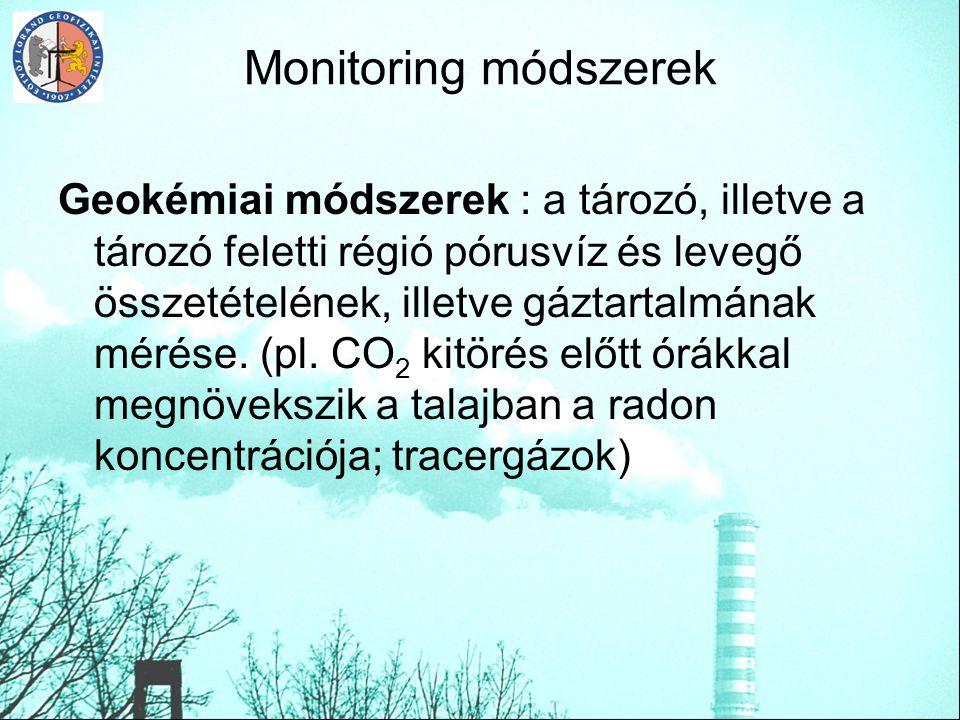 Monitoring módszerek Geokémiai módszerek : a tározó, illetve a tározó feletti régió pórusvíz és levegő összetételének, illetve gáztartalmának mérése.