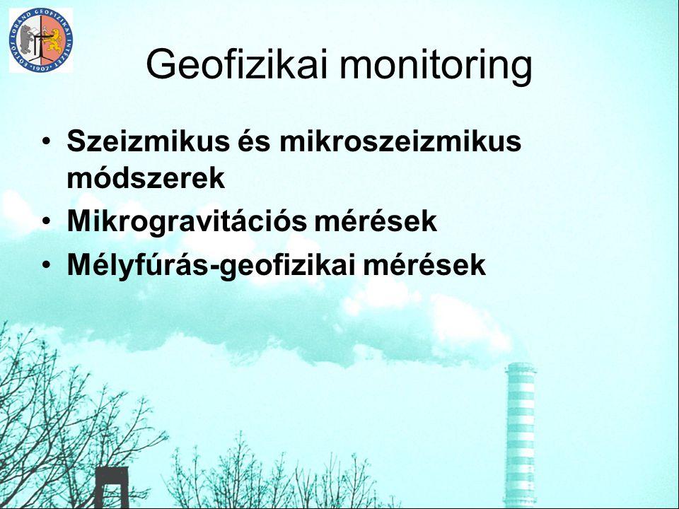 Geofizikai monitoring Szeizmikus és mikroszeizmikus módszerek Mikrogravitációs mérések Mélyfúrás-geofizikai mérések