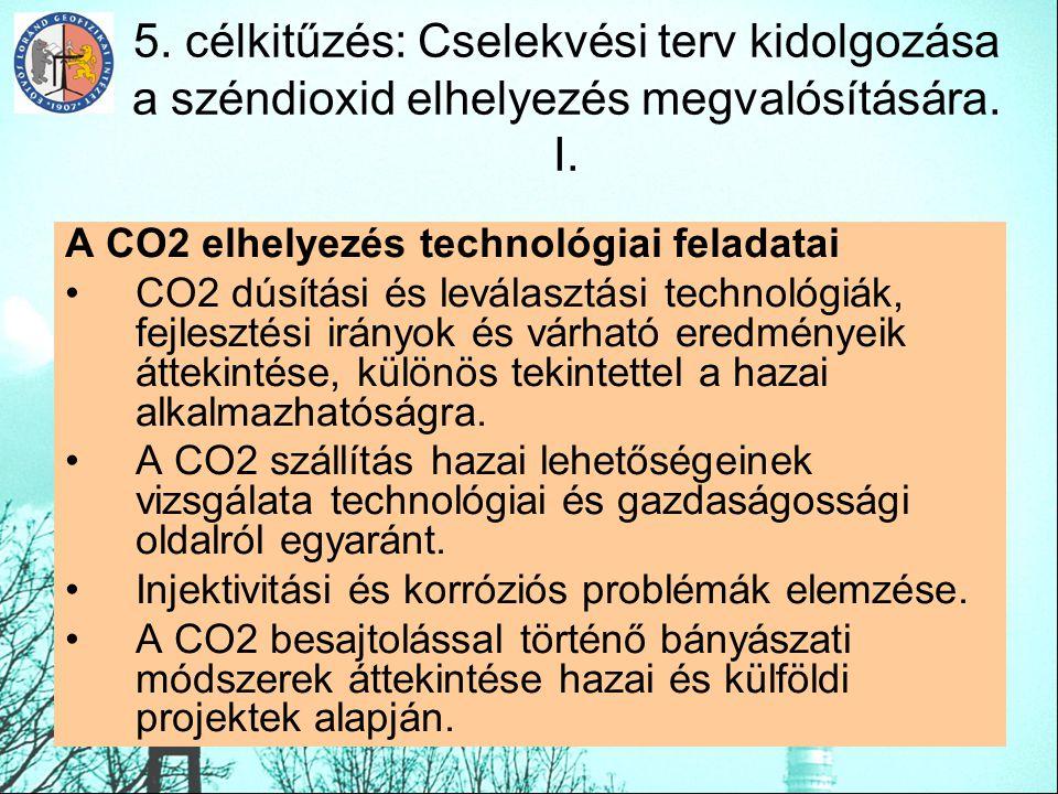 5. célkitűzés: Cselekvési terv kidolgozása a széndioxid elhelyezés megvalósítására. I. A CO2 elhelyezés technológiai feladatai CO2 dúsítási és leválas