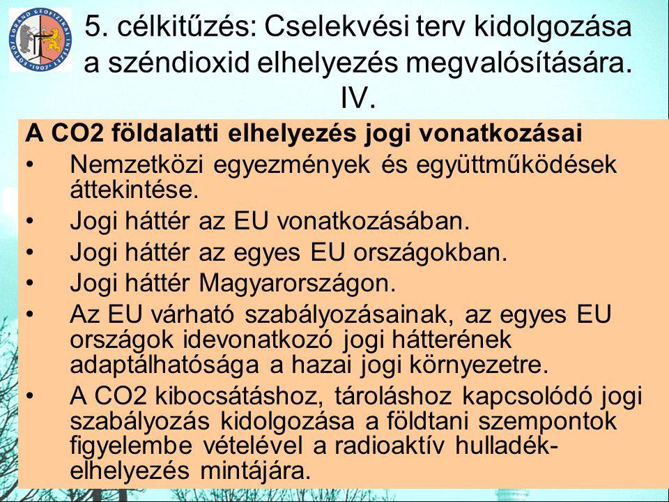 5. célkitűzés: Cselekvési terv kidolgozása a széndioxid elhelyezés megvalósítására. IV. A CO2 földalatti elhelyezés jogi vonatkozásai Nemzetközi egyez