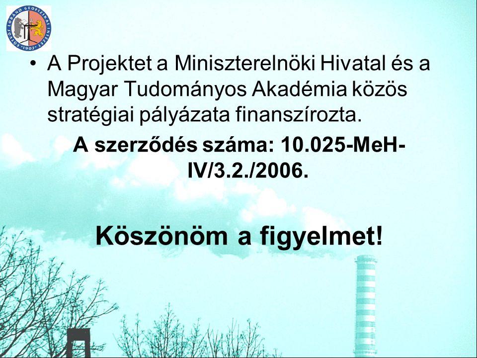 A Projektet a Miniszterelnöki Hivatal és a Magyar Tudományos Akadémia közös stratégiai pályázata finanszírozta. A szerződés száma: 10.025-MeH- IV/3.2.