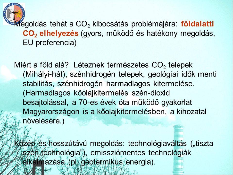 Megoldás tehát a CO 2 kibocsátás problémájára: földalatti CO 2 elhelyezés (gyors, működő és hatékony megoldás, EU preferencia) Miért a föld alá? Létez