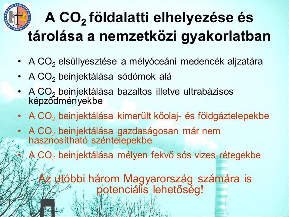 A CO 2 földalatti elhelyezése és tárolása a nemzetközi gyakorlatban A CO 2 elsüllyesztése a mélyóceáni medencék aljzatára A CO 2 beinjektálása sódómok