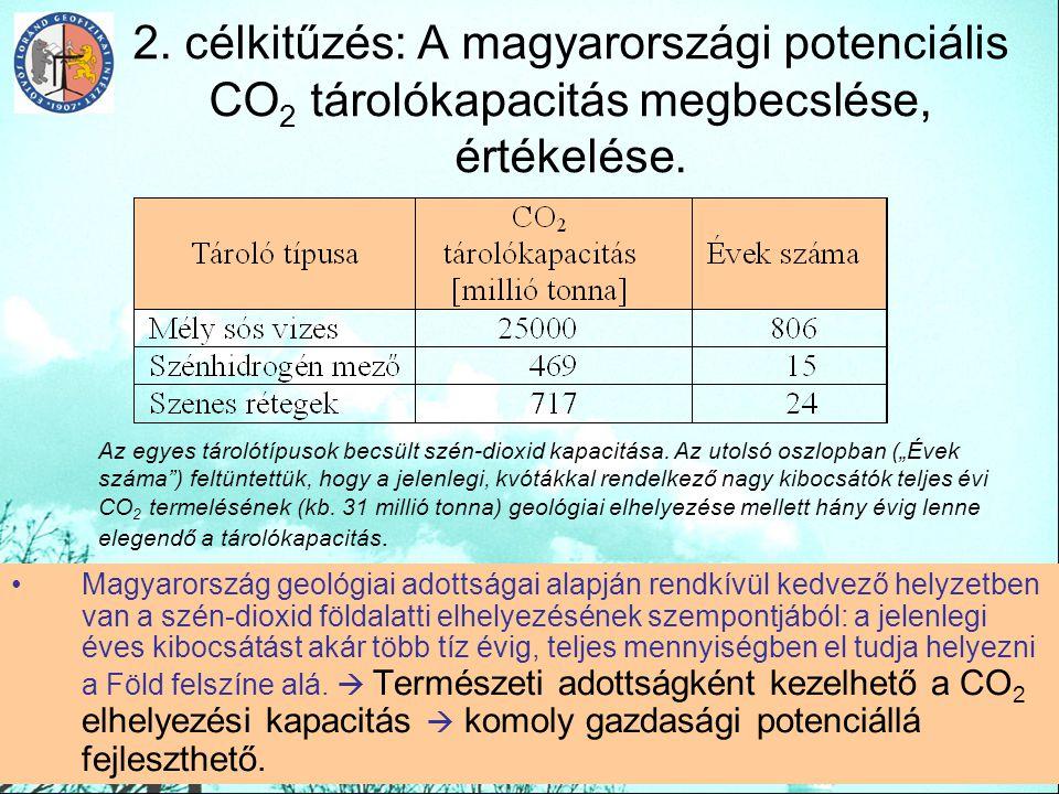 2. célkitűzés: A magyarországi potenciális CO 2 tárolókapacitás megbecslése, értékelése. Magyarország geológiai adottságai alapján rendkívül kedvező h