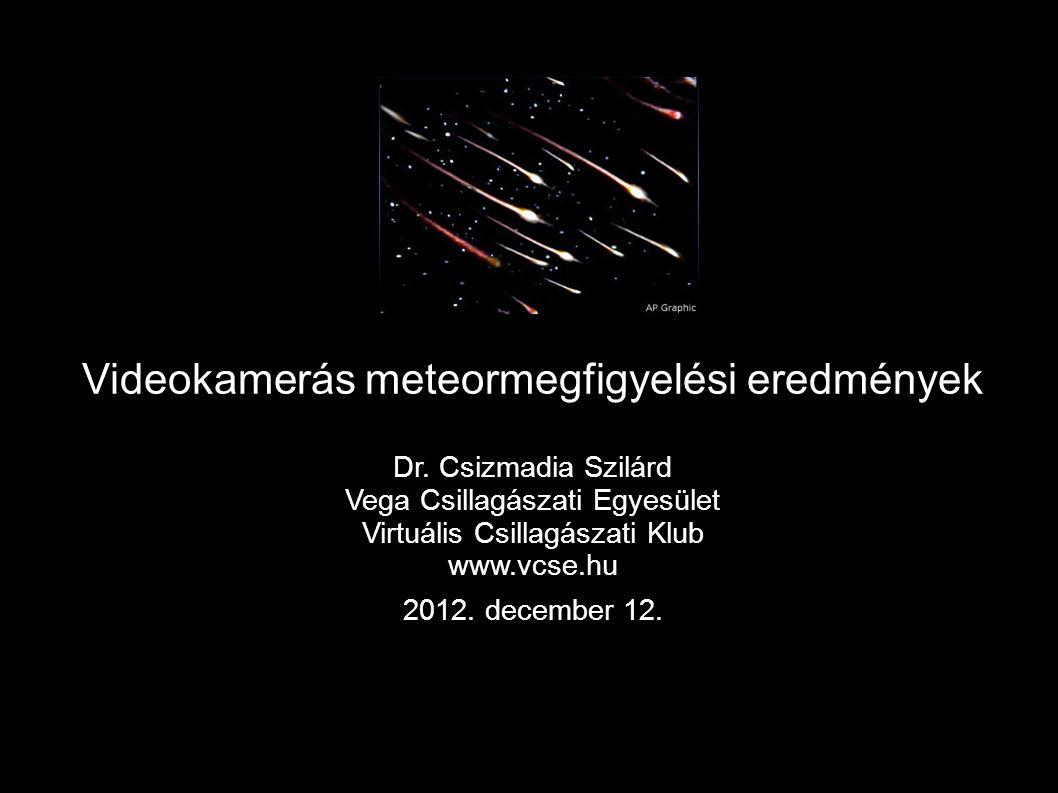 Videokamerás meteormegfigyelési eredmények Dr. Csizmadia Szilárd Vega Csillagászati Egyesület Virtuális Csillagászati Klub www.vcse.hu 2012. december