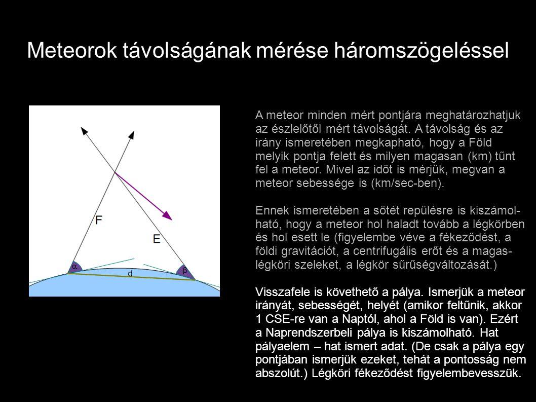 Meteorok távolságának mérése háromszögeléssel A meteor minden mért pontjára meghatározhatjuk az észlelőtől mért távolságát. A távolság és az irány ism