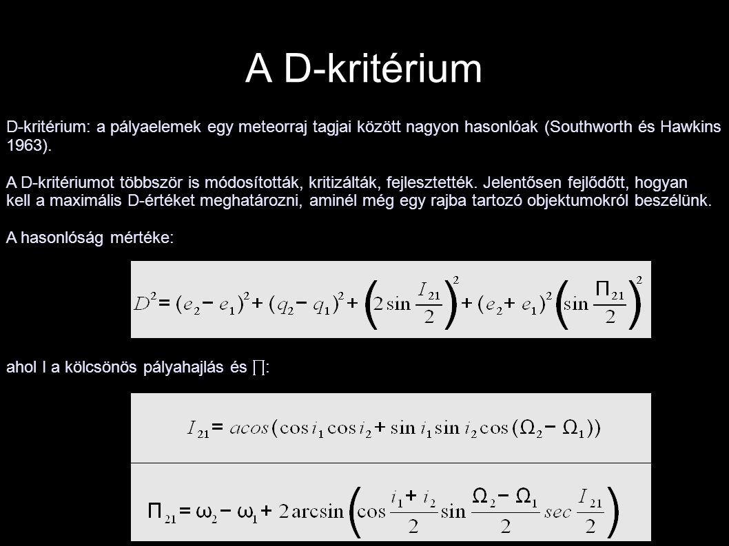 A D-kritérium D-kritérium: a pályaelemek egy meteorraj tagjai között nagyon hasonlóak (Southworth és Hawkins 1963). A D-kritériumot többször is módosí