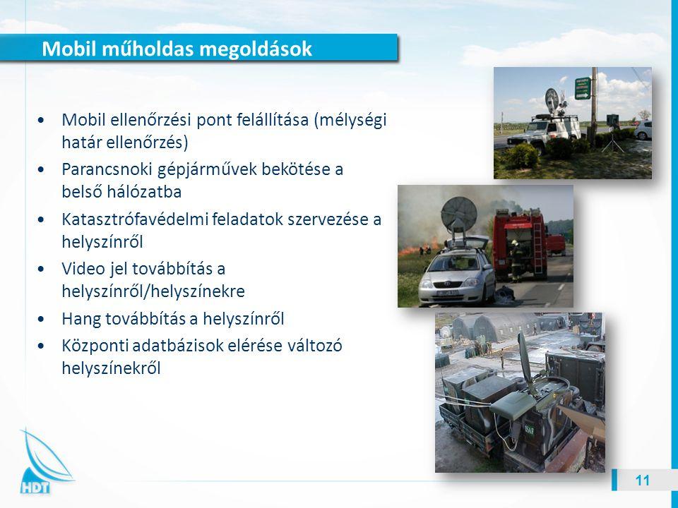Mobil műholdas megoldások 11 Mobil ellenőrzési pont felállítása (mélységi határ ellenőrzés) Parancsnoki gépjárművek bekötése a belső hálózatba Kataszt