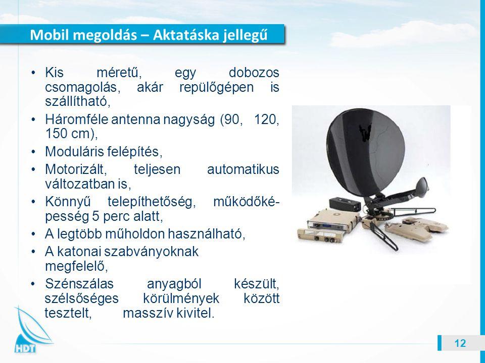 Mobil megoldás – Aktatáska jellegű 12 Kis méretű, egy dobozos csomagolás, akár repülőgépen is szállítható, Háromféle antenna nagyság (90, 120, 150 cm)
