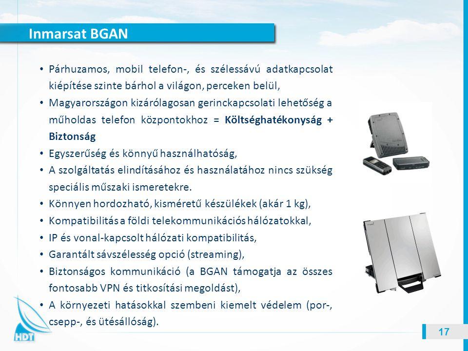 Inmarsat BGAN 17 Párhuzamos, mobil telefon-, és szélessávú adatkapcsolat kiépítése szinte bárhol a világon, perceken belül, Magyarországon kizárólagos