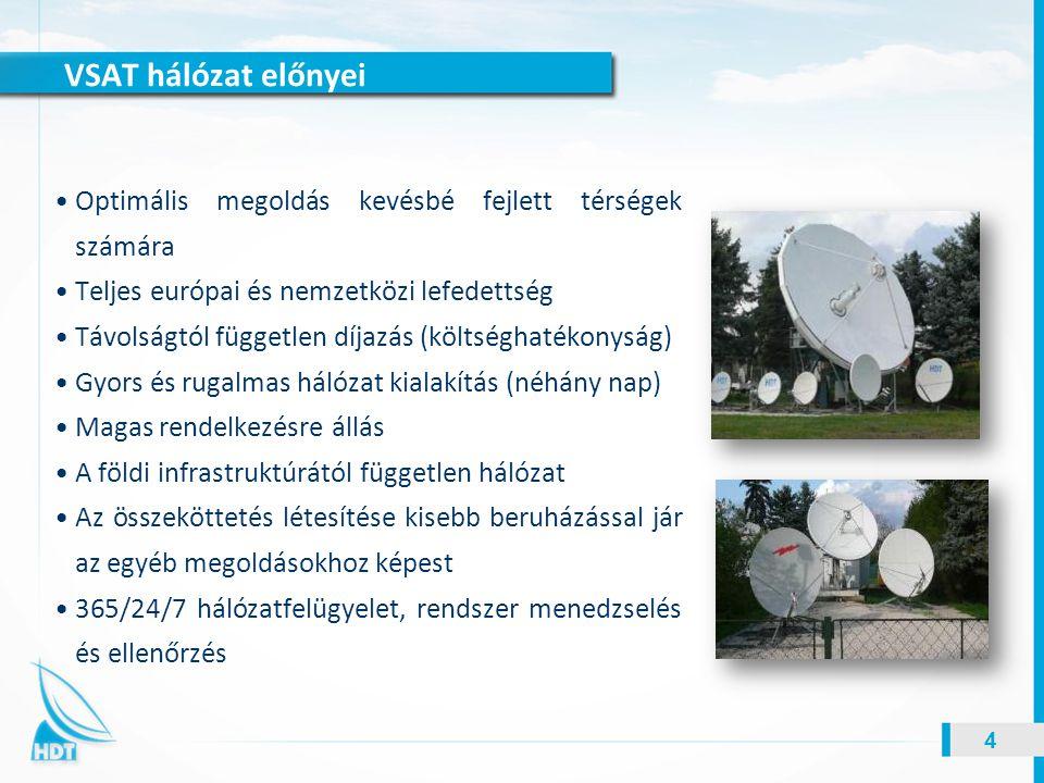 VSAT hálózat előnyei 4 Optimális megoldás kevésbé fejlett térségek számára Teljes európai és nemzetközi lefedettség Távolságtól független díjazás (köl