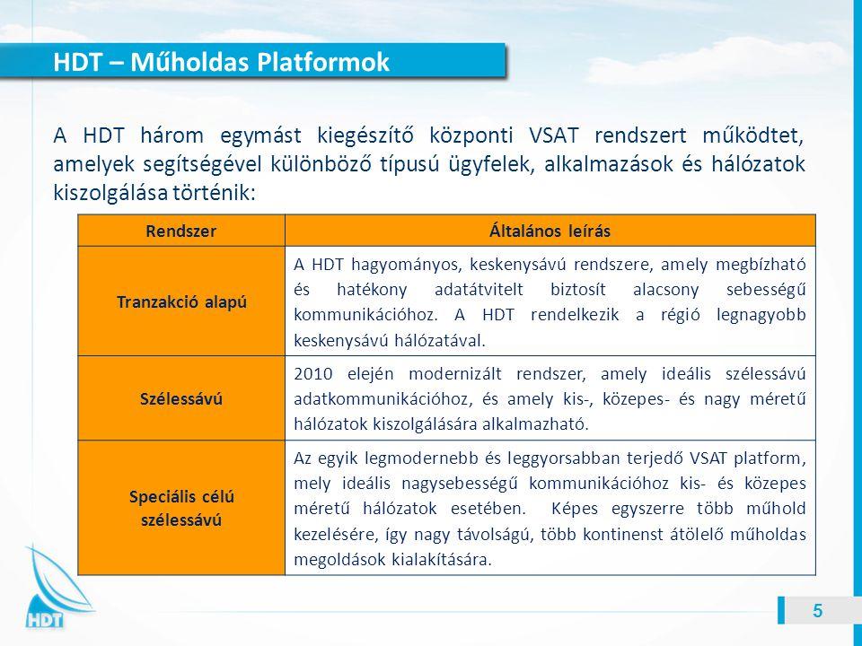 HDT – Műholdas Platformok 5 A HDT három egymást kiegészítő központi VSAT rendszert működtet, amelyek segítségével különböző típusú ügyfelek, alkalmazá