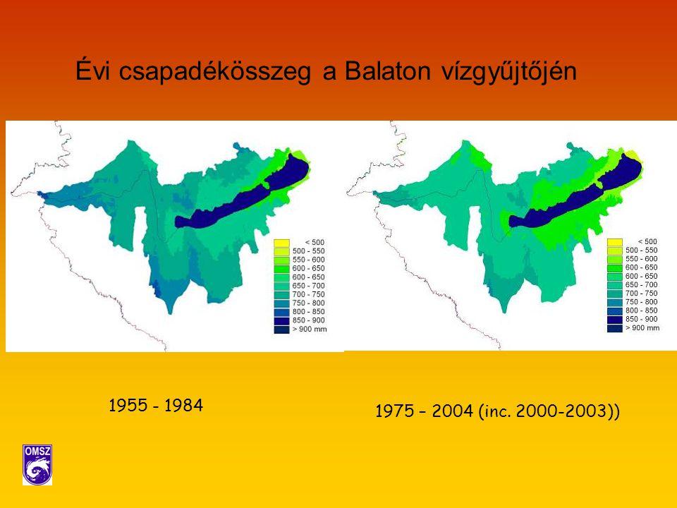 Évi csapadékösszeg a Balaton vízgyűjtőjén 1955 - 1984 1975 – 2004 (inc. 2000-2003))