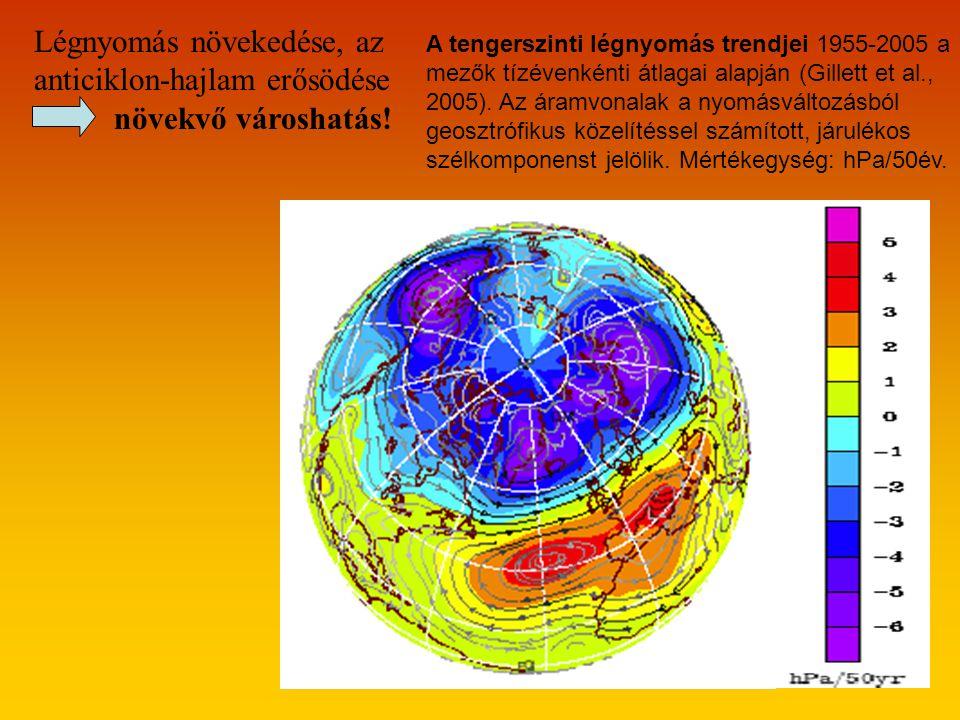 A tengerszinti légnyomás trendjei 1955-2005 a mezők tízévenkénti átlagai alapján (Gillett et al., 2005).