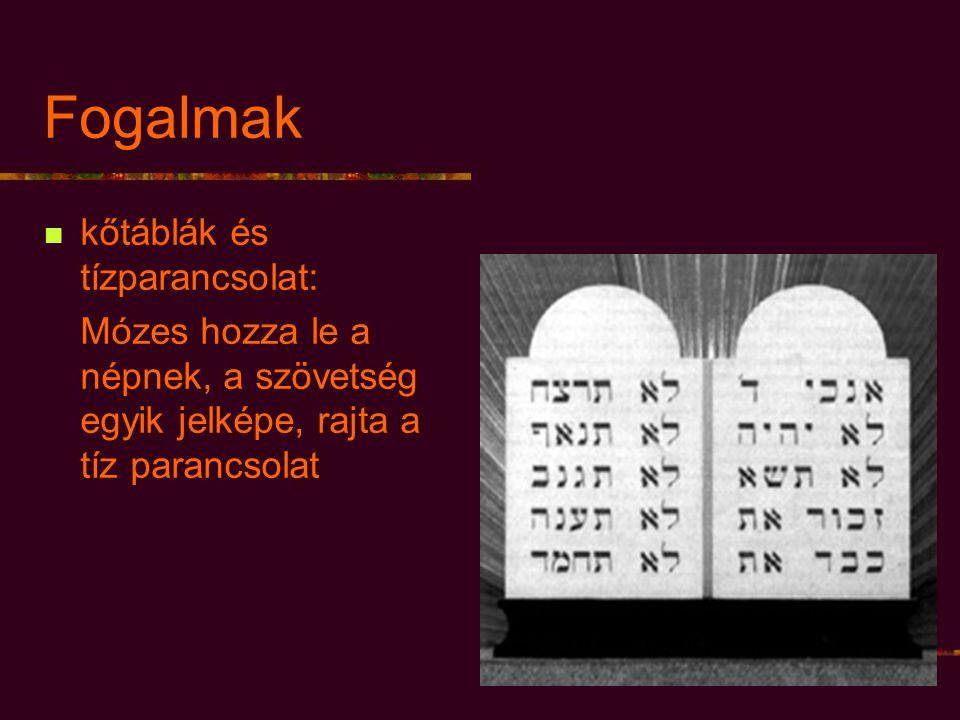 Fogalmak kőtáblák és tízparancsolat: Mózes hozza le a népnek, a szövetség egyik jelképe, rajta a tíz parancsolat