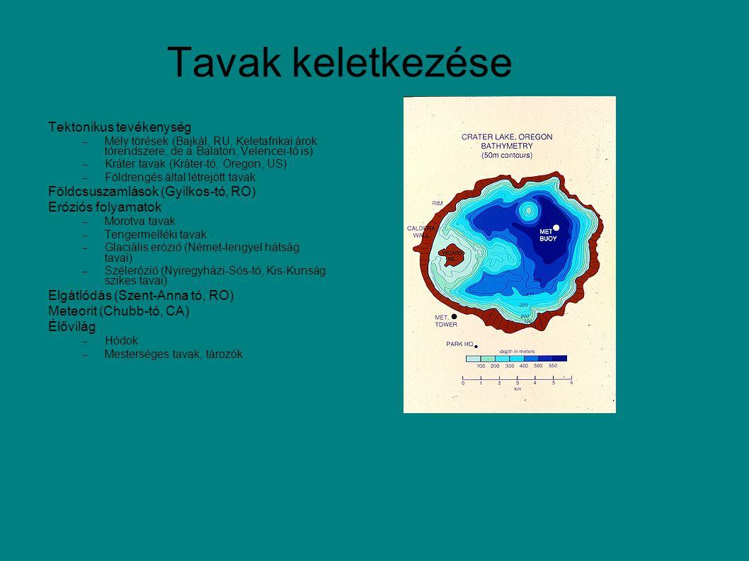 Tektonikus tevékenység  Mély törések (Bajkál, RU, Keletafrikai árok tórendszere, de a Balaton, Velencei-tó is)  Kráter tavak (Kráter-tó, Oregon, US)  Földrengés által létrejött tavak Földcsuszamlások (Gyilkos-tó, RO) Eróziós folyamatok  Morotva tavak  Tengermelléki tavak  Glaciális erózió (Német-lengyel hátság tavai)  Szélerózió (Nyiregyházi-Sós-tó, Kis-Kunság szikes tavai) Elgátlódás (Szent-Anna tó, RO) Meteorit (Chubb-tó, CA) Élővilág  Hódok  Mesterséges tavak, tározók