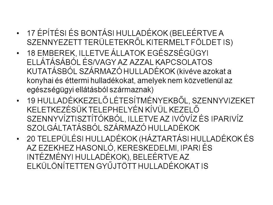 17 ÉPÍTÉSI ÉS BONTÁSI HULLADÉKOK (BELEÉRTVE A SZENNYEZETT TERÜLETEKRŐL KITERMELT FÖLDET IS) 18 EMBEREK, ILLETVE ÁLLATOK EGÉSZSÉGÜGYI ELLÁTÁSÁBÓL ÉS/VAGY AZ AZZAL KAPCSOLATOS KUTATÁSBÓL SZÁRMAZÓ HULLADÉKOK (kivéve azokat a konyhai és éttermi hulladékokat, amelyek nem közvetlenül az egészségügyi ellátásból származnak) 19 HULLADÉKKEZELŐ LÉTESÍTMÉNYEKBŐL, SZENNYVIZEKET KELETKEZÉSÜK TELEPHELYÉN KÍVÜL KEZELŐ SZENNYVÍZTISZTÍTÓKBÓL, ILLETVE AZ IVÓVÍZ ÉS IPARIVÍZ SZOLGÁLTATÁSBÓL SZÁRMAZÓ HULLADÉKOK 20 TELEPÜLÉSI HULLADÉKOK (HÁZTARTÁSI HULLADÉKOK ÉS AZ EZEKHEZ HASONLÓ, KERESKEDELMI, IPARI ÉS INTÉZMÉNYI HULLADÉKOK), BELEÉRTVE AZ ELKÜLÖNÍTETTEN GYŰJTÖTT HULLADÉKOKAT IS