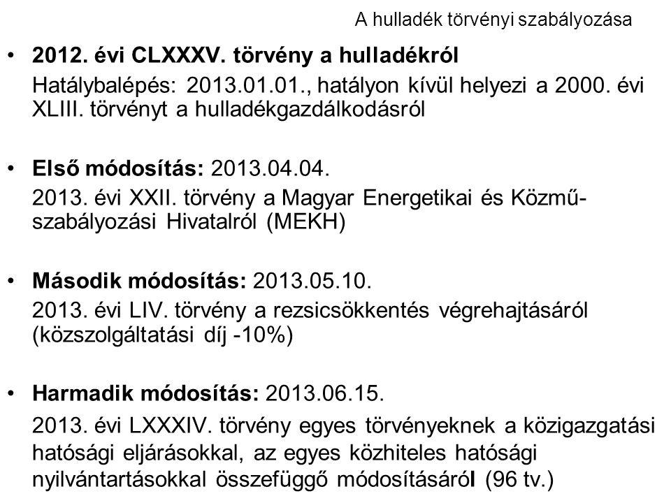 A hulladék törvényi szabályozása 2012. évi CLXXXV. törvény a hulladékról Hatálybalépés: 2013.01.01., hatályon kívül helyezi a 2000. évi XLIII. törvény