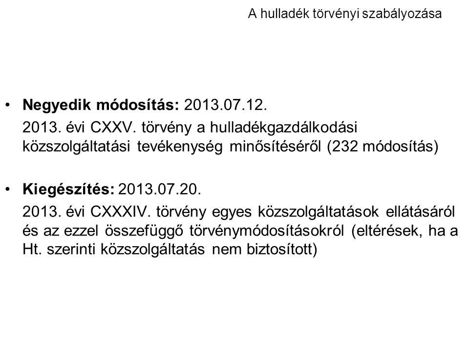 A hulladék törvényi szabályozása Negyedik módosítás: 2013.07.12. 2013. évi CXXV. törvény a hulladékgazdálkodási közszolgáltatási tevékenység minősítés