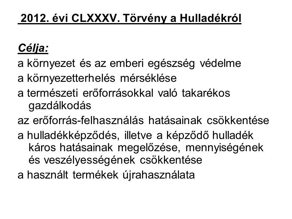 2012. évi CLXXXV. Törvény a Hulladékról Célja: a környezet és az emberi egészség védelme a környezetterhelés mérséklése a természeti erőforrásokkal va
