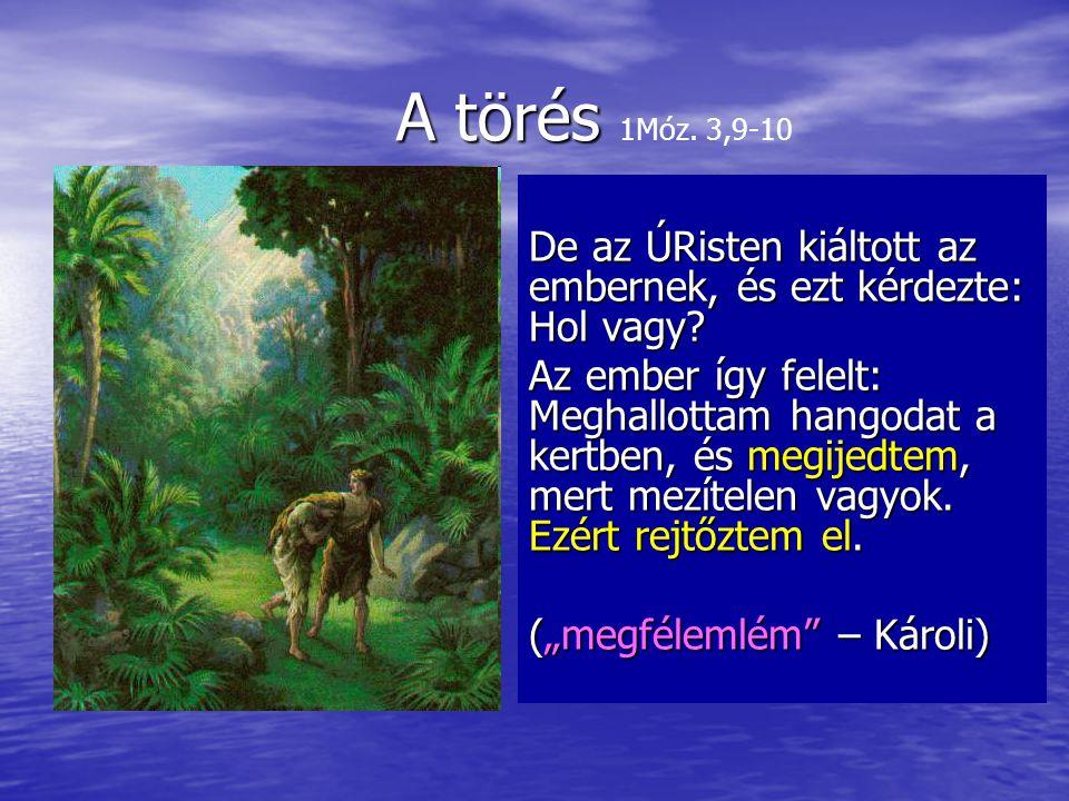 A törés A törés 1Móz.3,9-10 De az ÚRisten kiáltott az embernek, és ezt kérdezte: Hol vagy.