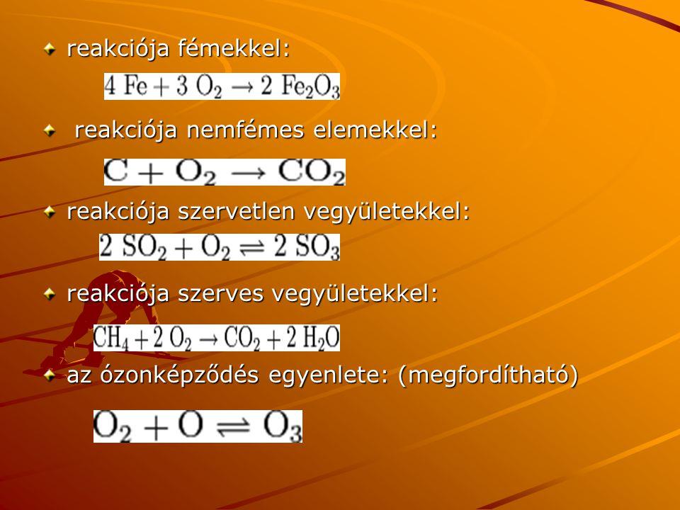 reakciója fémekkel: reakciója nemfémes elemekkel: reakciója nemfémes elemekkel: reakciója szervetlen vegyületekkel: reakciója szerves vegyületekkel: a