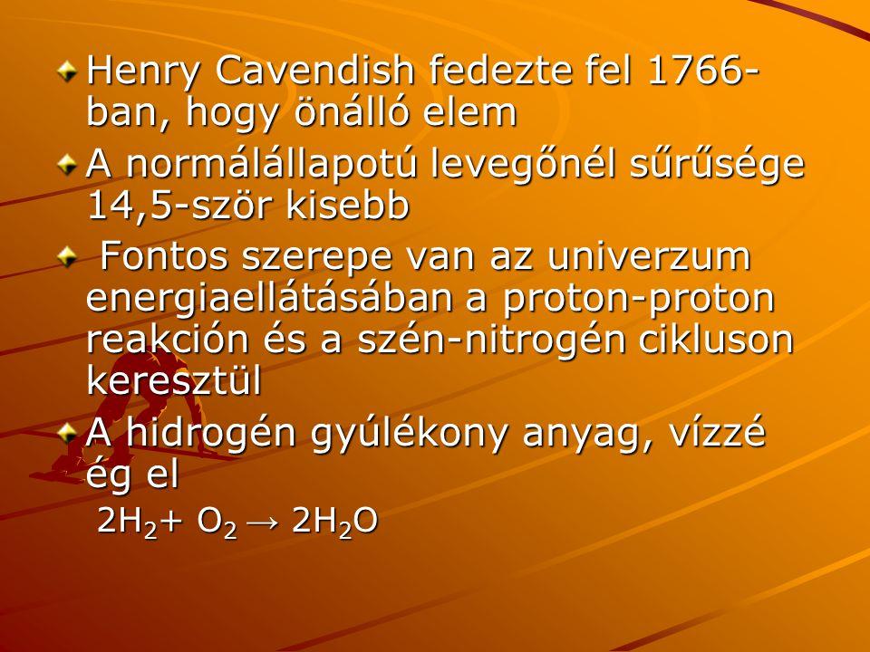 Henry Cavendish fedezte fel 1766- ban, hogy önálló elem A normálállapotú levegőnél sűrűsége 14,5-ször kisebb Fontos szerepe van az univerzum energiael