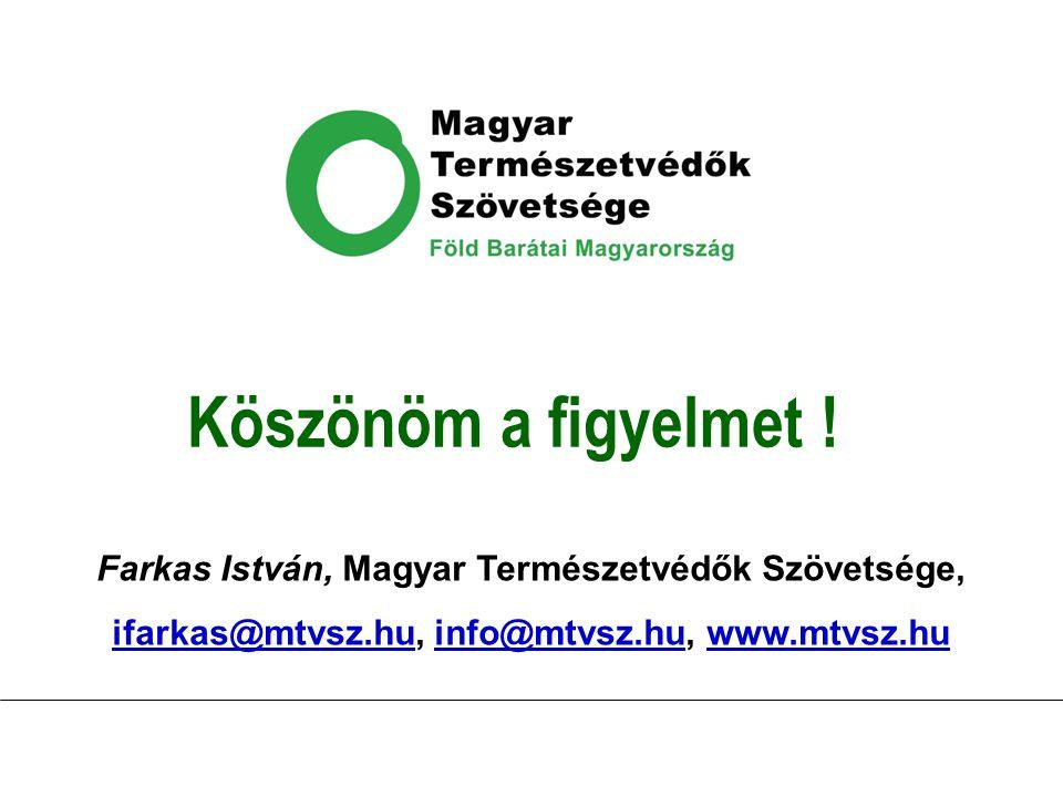 Köszönöm a figyelmet ! Farkas István, Magyar Természetvédők Szövetsége, ifarkas@mtvsz.huifarkas@mtvsz.hu, info@mtvsz.hu, www.mtvsz.huinfo@mtvsz.huwww.