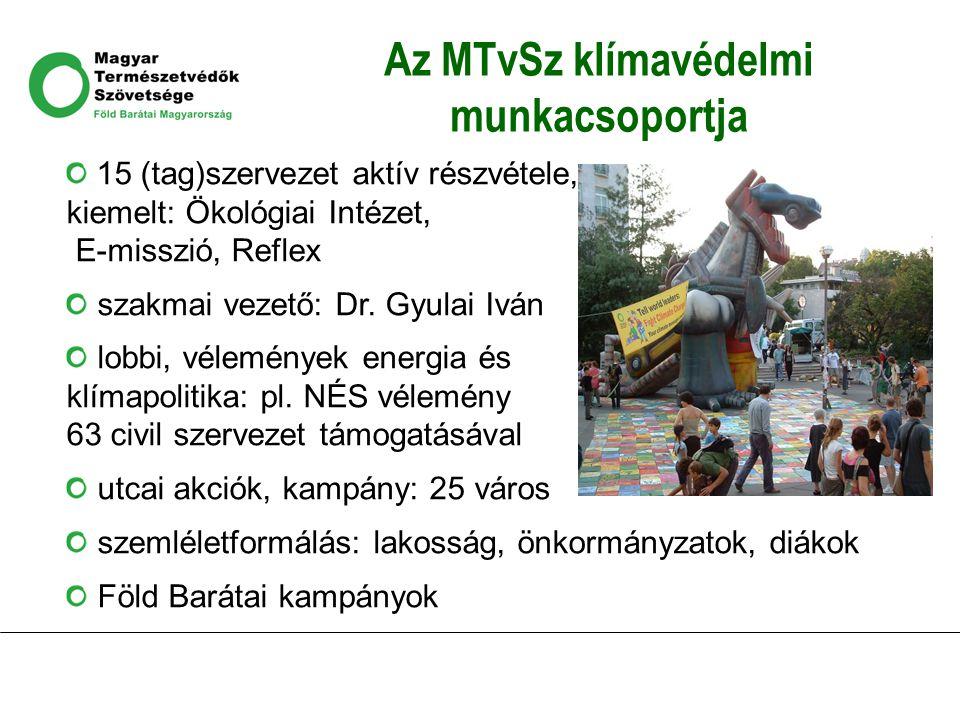 Az MTvSz klímavédelmi munkacsoportja 15 (tag)szervezet aktív részvétele, kiemelt: Ökológiai Intézet, E-misszió, Reflex szakmai vezető: Dr. Gyulai Iván
