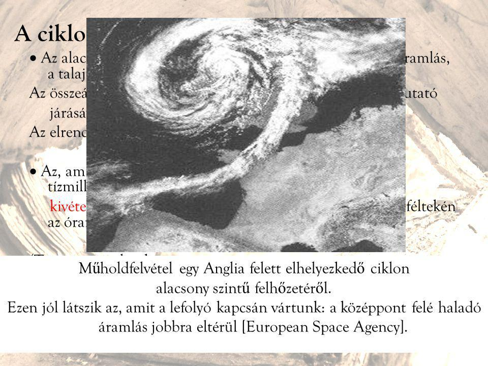 """A ciklon mint """"felfolyó""""  Az alacsony központi nyomás miatt a ciklon közepén feláramlás, a talaj közelében pedig lassú összeáramlás zajlik. Az összeá"""