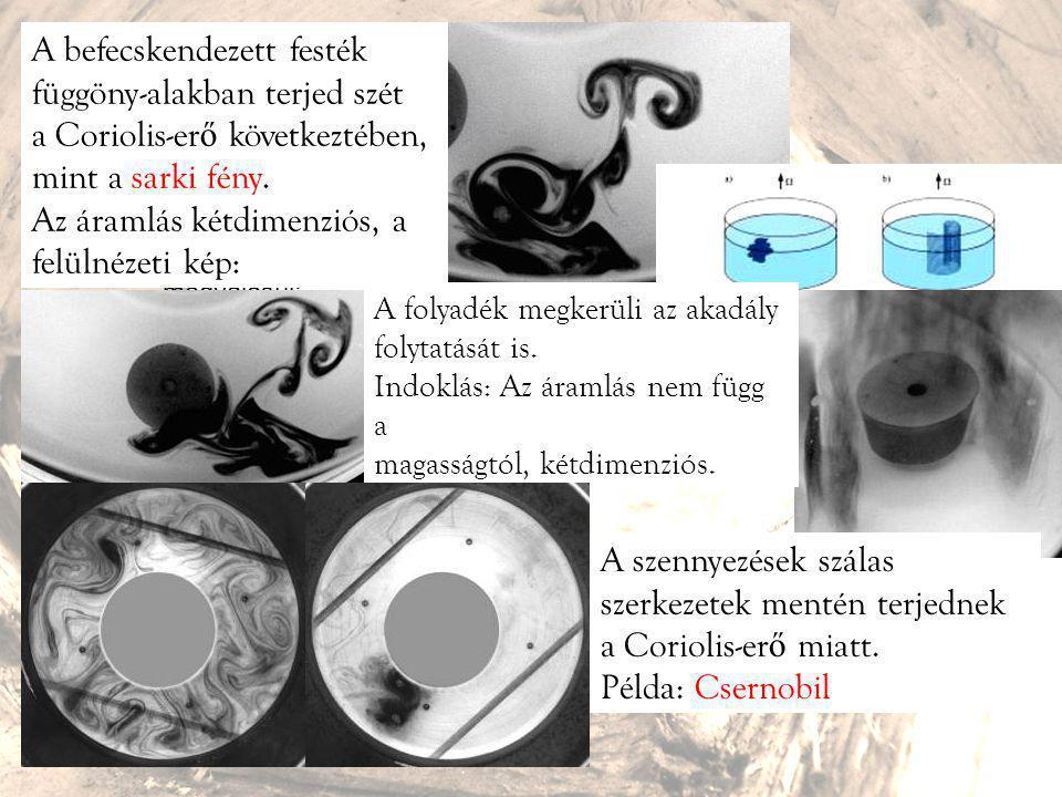  Coriolis-hatás - jól megtervezett kísérletekben (1 napig áll a víz, több m sugarú pontosan hengeres edény) a várt forgásirány valóban megvalósul: 18