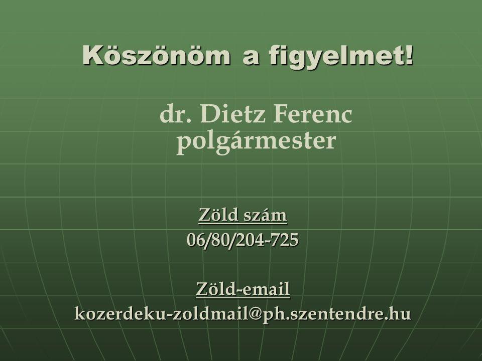 Köszönöm a figyelmet.Zöld szám 06/80/204-725Zöld-emailkozerdeku-zoldmail@ph.szentendre.hu dr.