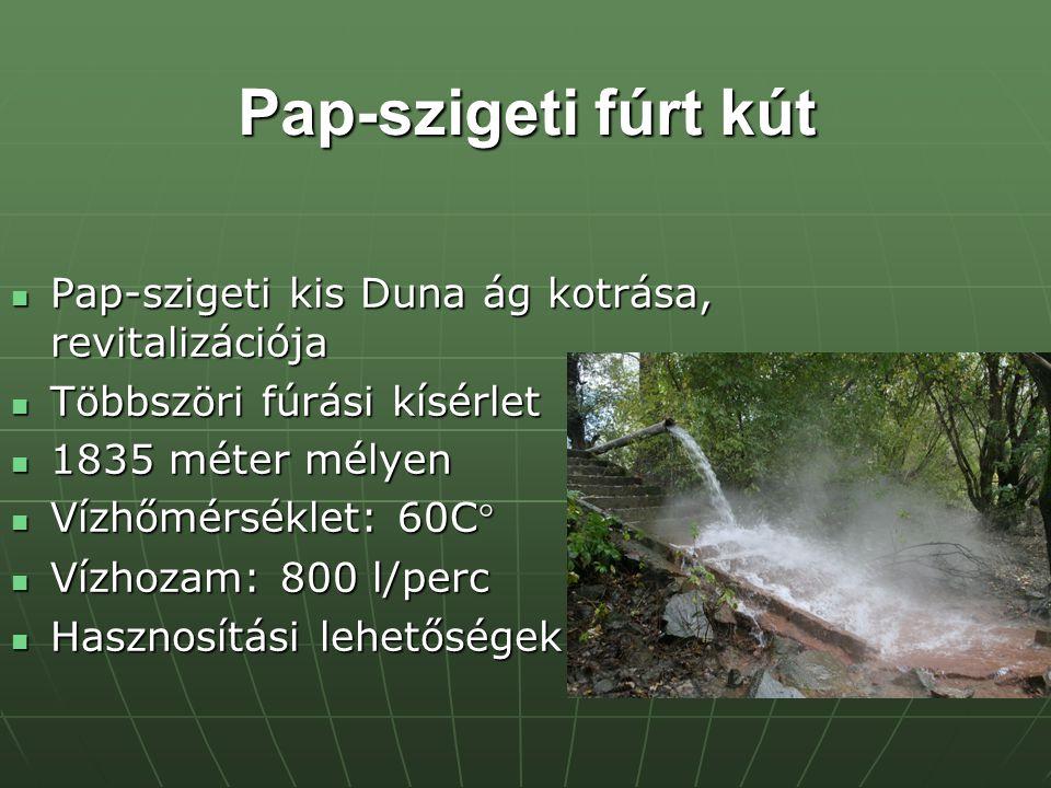 Pap-szigeti fúrt kút Pap-szigeti kis Duna ág kotrása, revitalizációja Pap-szigeti kis Duna ág kotrása, revitalizációja Többszöri fúrási kísérlet Többszöri fúrási kísérlet 1835 méter mélyen 1835 méter mélyen Vízhőmérséklet: 60C° Vízhőmérséklet: 60C° Vízhozam: 800 l/perc Vízhozam: 800 l/perc Hasznosítási lehetőségek Hasznosítási lehetőségek