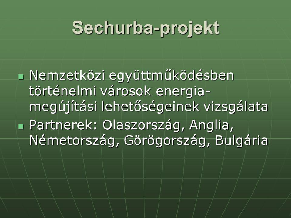 Sechurba-projekt Nemzetközi együttműködésben történelmi városok energia- megújítási lehetőségeinek vizsgálata Nemzetközi együttműködésben történelmi városok energia- megújítási lehetőségeinek vizsgálata Partnerek: Olaszország, Anglia, Németország, Görögország, Bulgária Partnerek: Olaszország, Anglia, Németország, Görögország, Bulgária