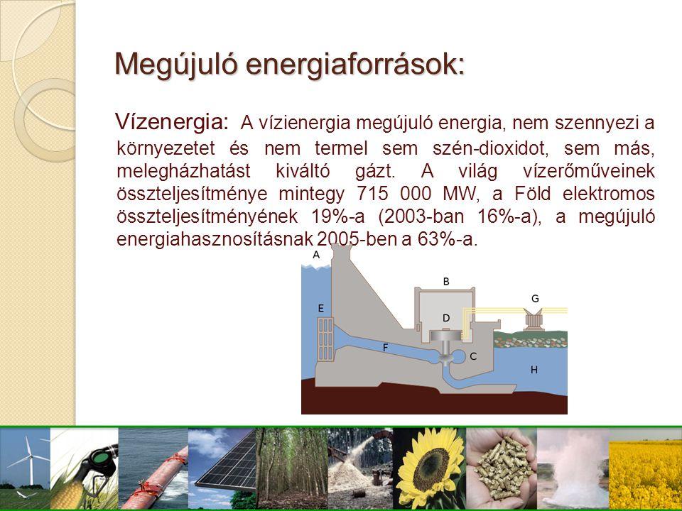 Megújuló energiaforrások: Vízenergia: A vízienergia megújuló energia, nem szennyezi a környezetet és nem termel sem szén-dioxidot, sem más, melegházha