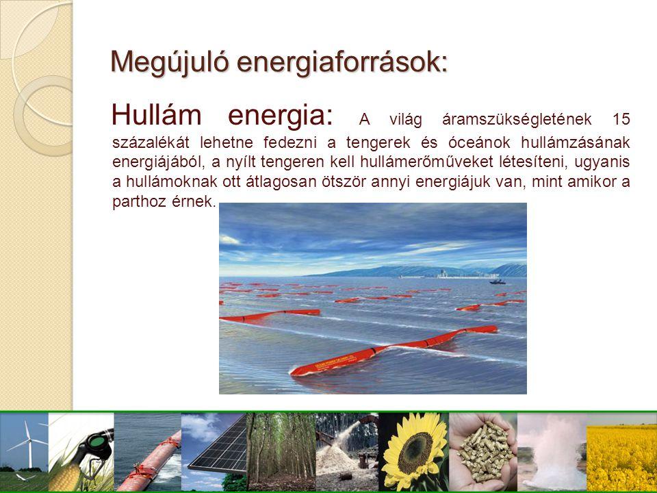 Megújuló energiaforrások: Hullám energia: A világ áramszükségletének 15 százalékát lehetne fedezni a tengerek és óceánok hullámzásának energiájából, a