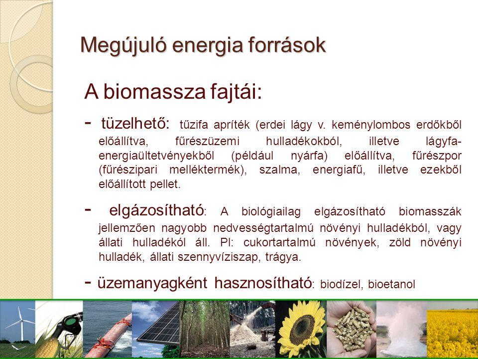 A biomassza fajtái: - tüzelhető: tűzifa apríték (erdei lágy v. keménylombos erdőkből előállítva, fűrészüzemi hulladékokból, illetve lágyfa- energiaült