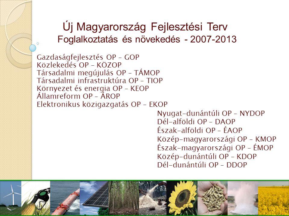 Új Magyarország Fejlesztési Terv Foglalkoztatás és növekedés - 2007-2013 Gazdaságfejlesztés OP – GOP Közlekedés OP – KÖZOP Társadalmi megújulás OP – T
