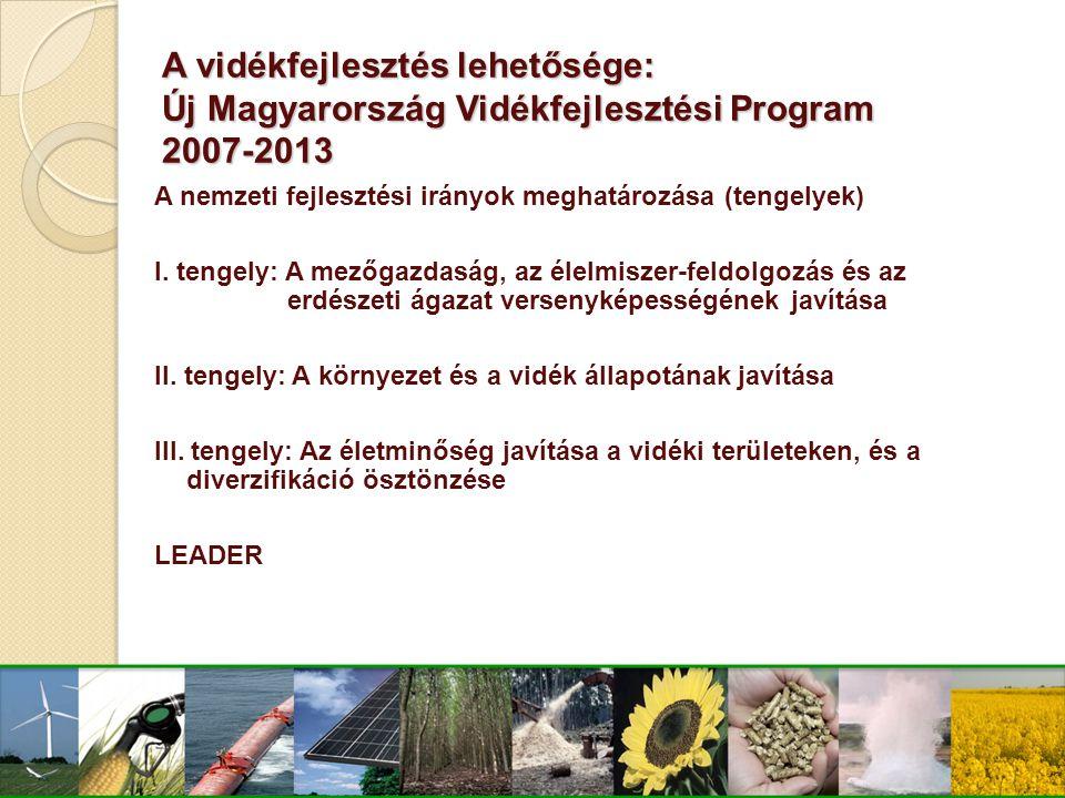A vidékfejlesztés lehetősége: Új Magyarország Vidékfejlesztési Program 2007-2013 A nemzeti fejlesztési irányok meghatározása (tengelyek) I. tengely: A